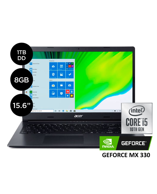 "Imagen para Laptop Acer Aspire 3 15.6"" Core i5 10°Gen 1TB 8GB VIDEO MX 330 2GB                                                              de La Curacao"