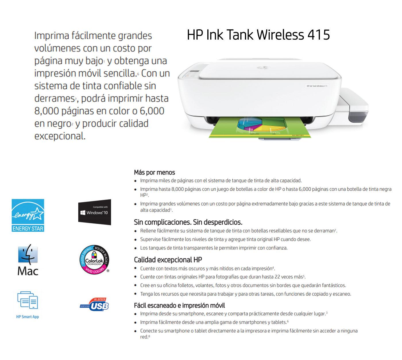 Impresora All In One Hp Ink Tank 415 Blanco La Curacao