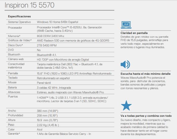 LAPTOP DELL INSPIRON 15 5570 CI5 8250U 2TB 8GB | EFE